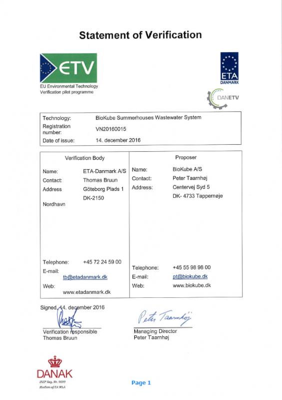 Enskilt avlopp Fritidshus certificering